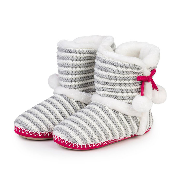 totes Ladies Sparkle Stripe Knit Bootie Slippers Grey/Pink