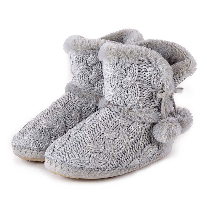 totes Ladies Cable Knit Boot Slippers Grey Large (UK 78)