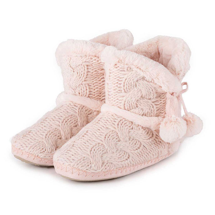 totes Ladies Cable Knit Boot Slippers Pink