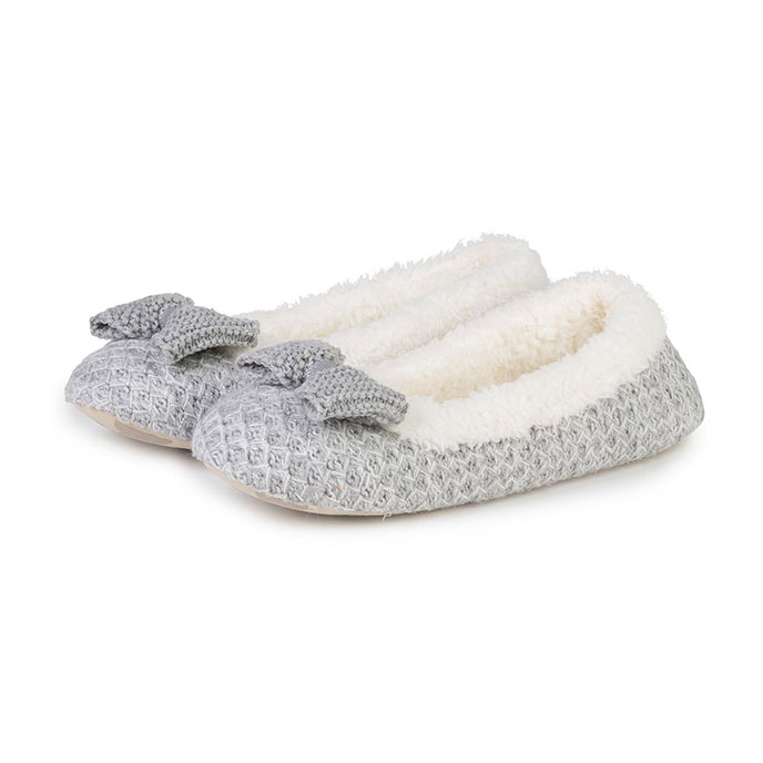 totes Ladies Lurex Sparkle Knit Ballet Slippers Grey
