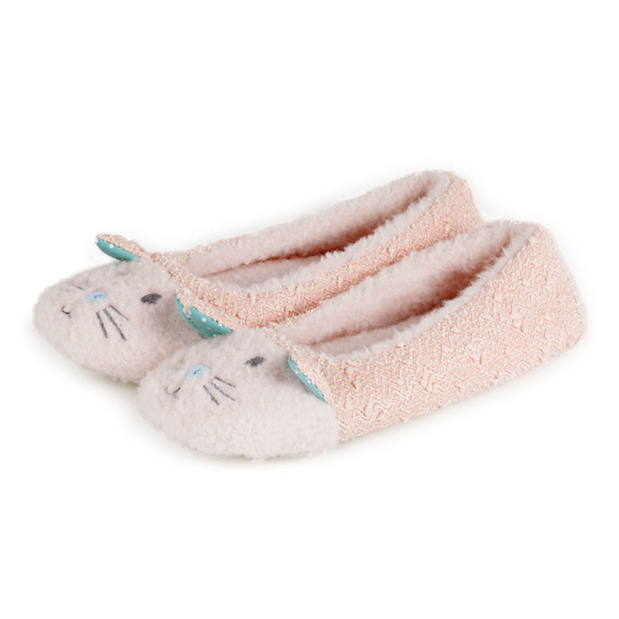 totes Ladies Novelty Ballet Slippers Pink Cat