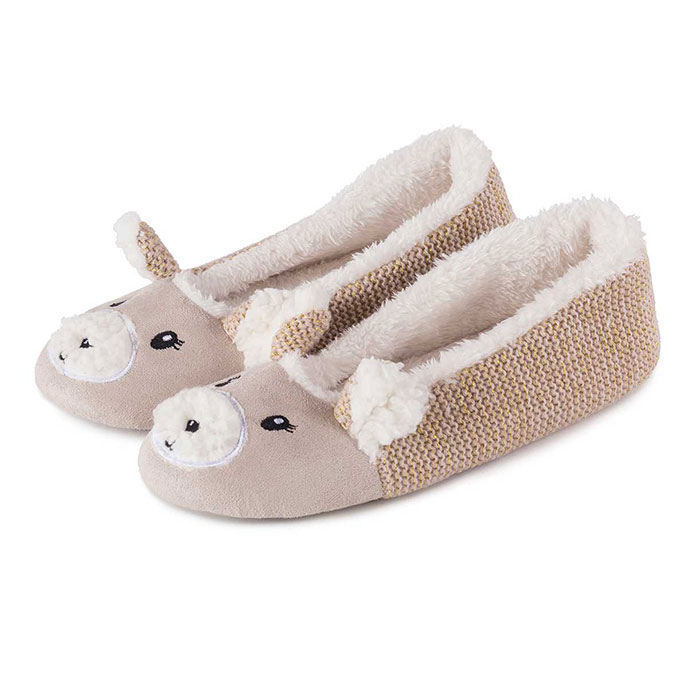 totes Ladies Knit Back Novelty Ballet Slippers Beige Large (UK 78)