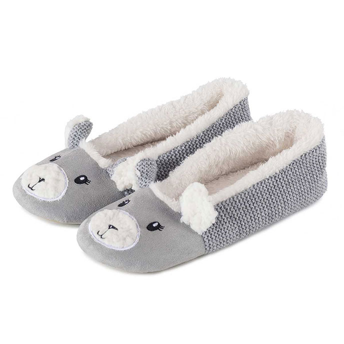 totes Ladies Knit Back Novelty Ballet Slippers Grey Medium (UK 56)