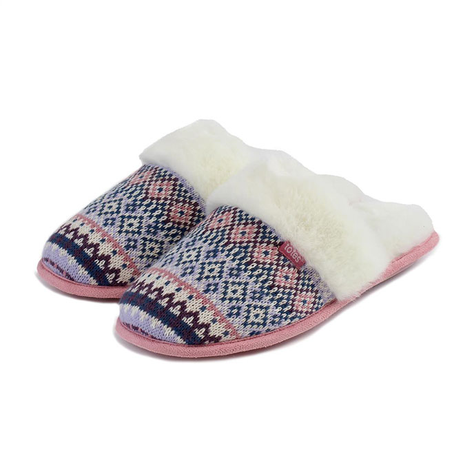 totes Ladies Fair Isle Mule Slippers Lilac/Pink