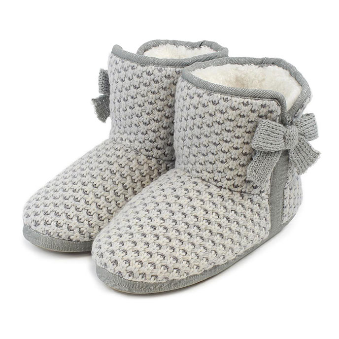 totes Ladies Waffle Knit Booties Grey