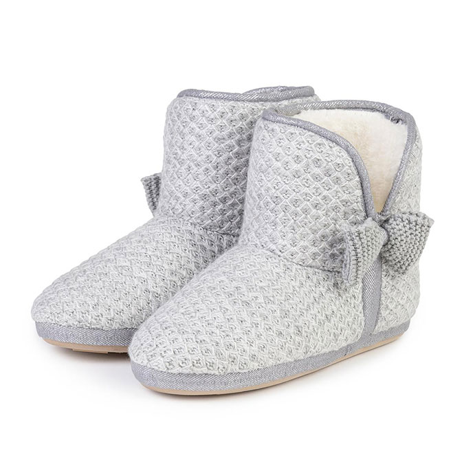 totes Ladies Lurex Sparkle Knit Bootie Slippers Grey