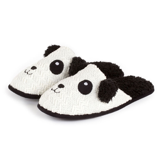 totes Ladies Novelty Mule Slippers Black and White Panda Small (UK 34)