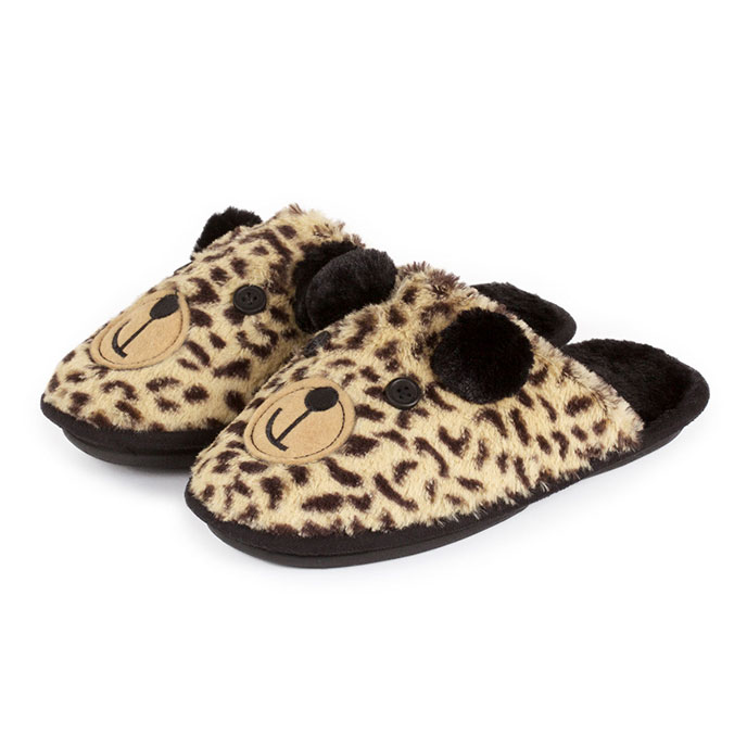 totes Ladies Novelty Mule Slippers Leopard Bear Large (UK 78)