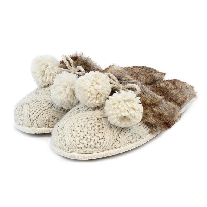 totes Ladies Cable Knit Mule Slippers Cream