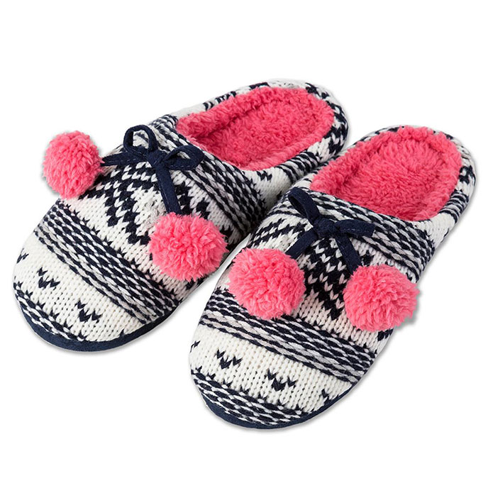 totes Ladies Chunky Knit Mule Slippers Navy/Coral