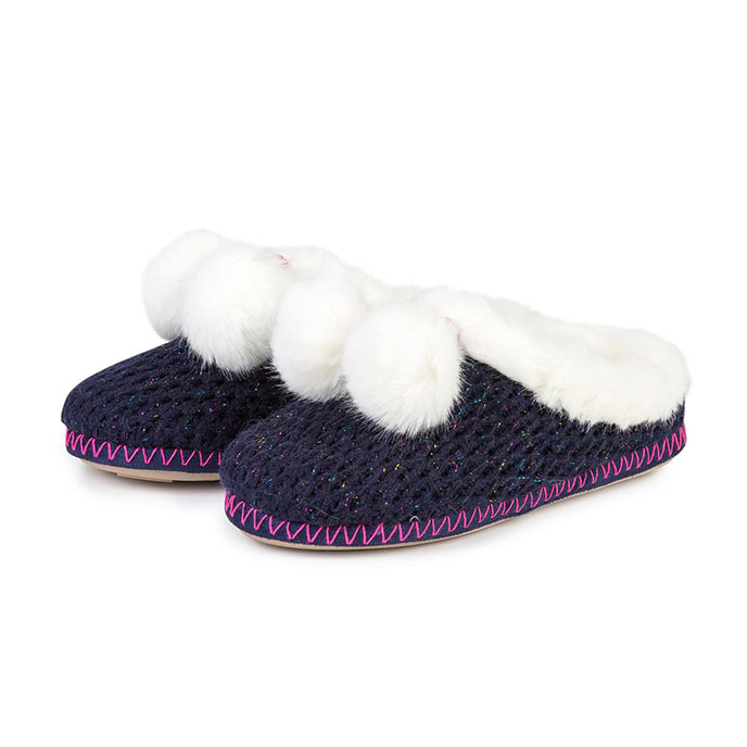 totes Ladies Chunky Knit Mule Slippers Navy Sparkle
