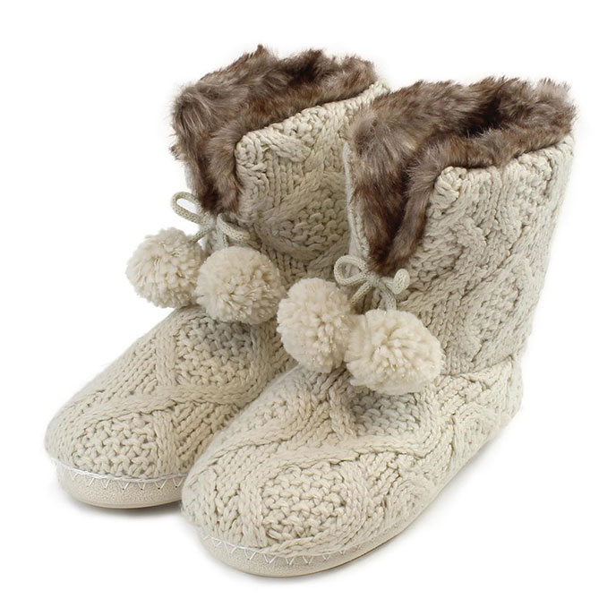 totes Ladies Cable Knit Booties Cream