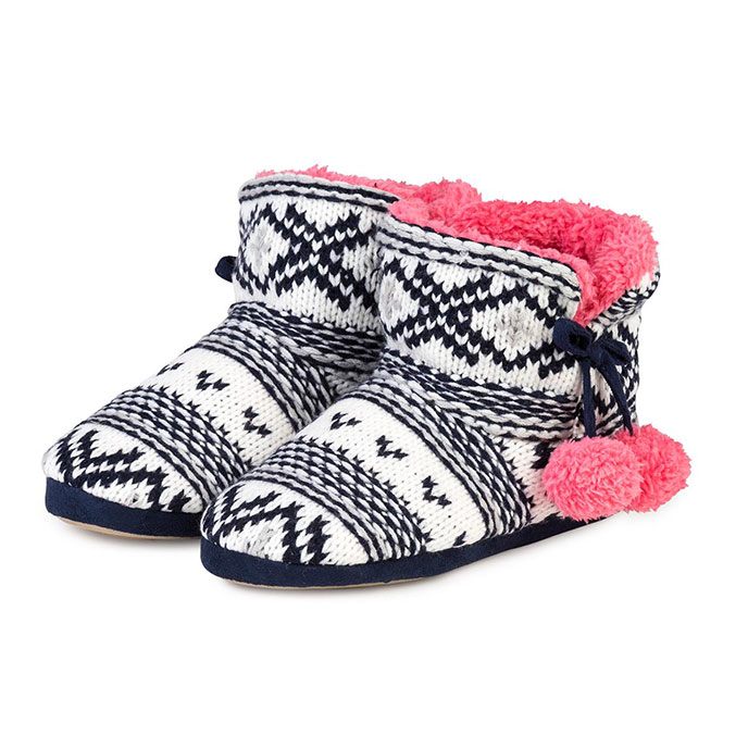totes Ladies Chunky Knit Bootie Slipper Navy/Coral
