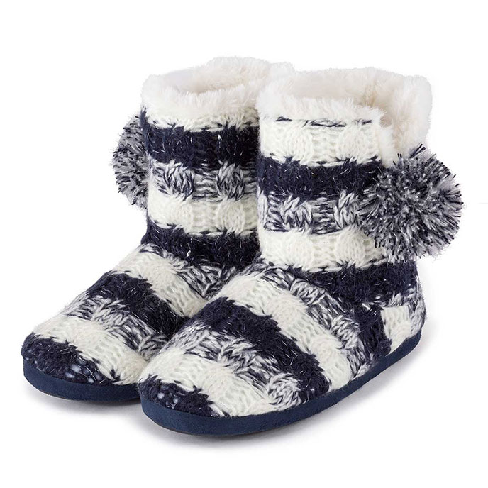 totes Ladies Stripe Knit Boot Slippers Navy