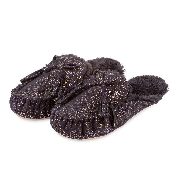 totes Ladies Sparkle Backless Moccasin Slipper Black