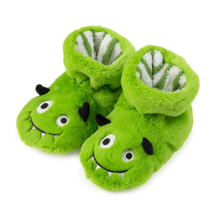 totes Boys Slippers Green Monster
