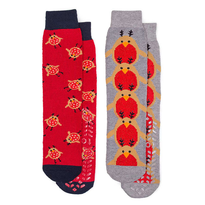 totes Ladies Original Slipper Socks (Twin Pack) Robin