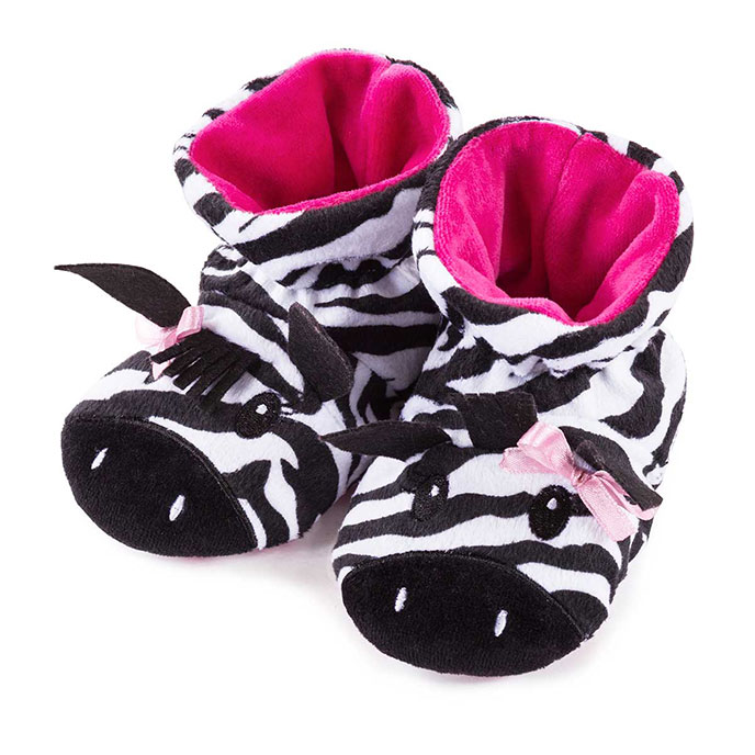 totes Girls Novelty Animal Slippers Zebra