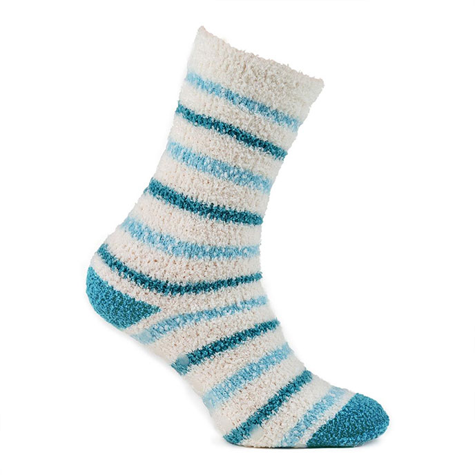 totes Ladies Twin Cosy/Popcorn Socks Aqua/Stripe