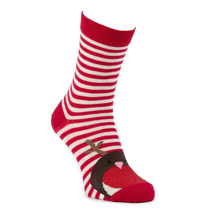 totes Ladies 2 Pack Cracker Socks Robin/Reindeer