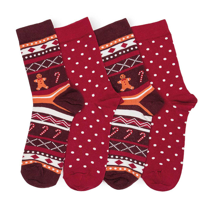 totes Ladies Cracker Socks (Twin Pack) Gingerbread man
