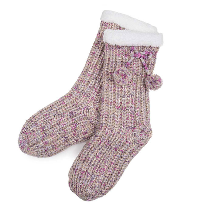 totes Ladies Soft Fluffy Sequin Socks Purple/Gold