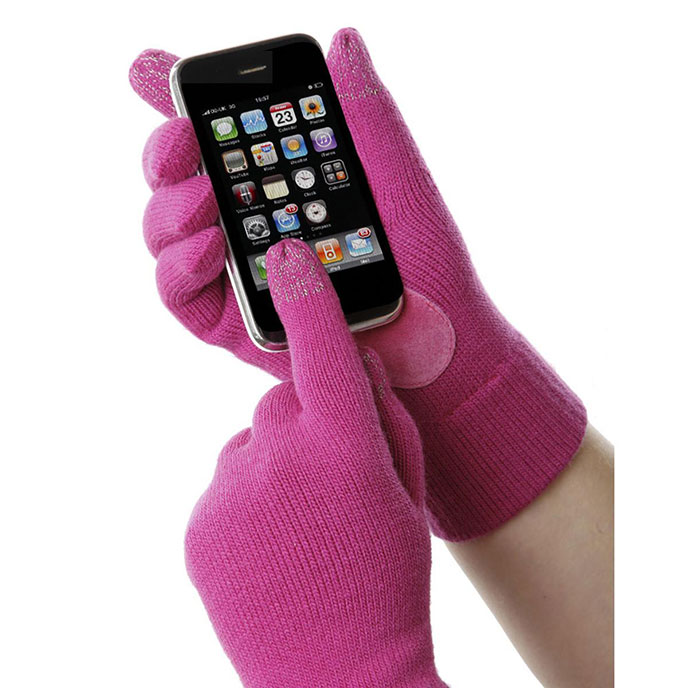 SmarTouch Ladies Knit 2 Finger Touchscreen Glove Magenta Pink