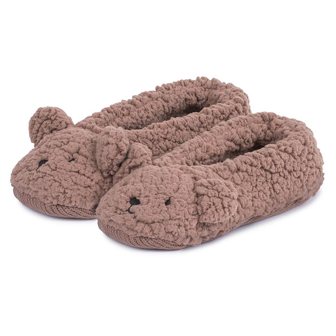 totes Ladies Novelty Knit Footsie Slipper Socks Brown SmallMedium (UK 35)