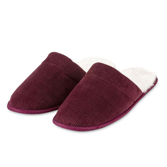 totes Mens Velour Mule Slipper With Sherpa Lining Burgundy