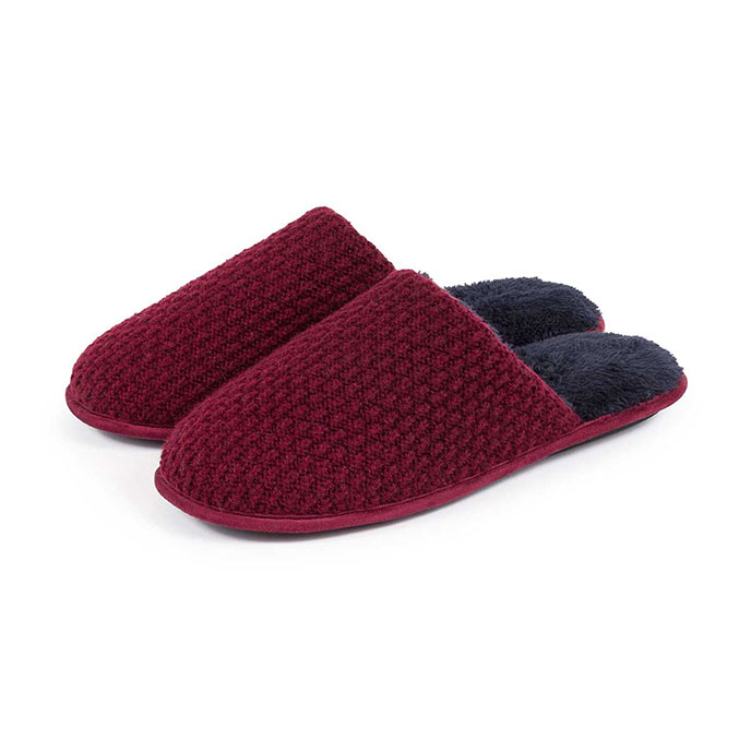 totes Mens Textured Mule Slippers Berry