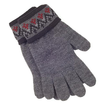 isotoner Mens Fair Isle Knit Collection Charcoal Gloves