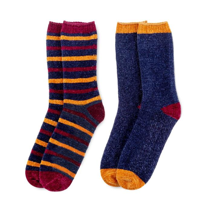 totes toasties Mens Supersoft Twin Pack Slipper Socks Blue/Burgundy