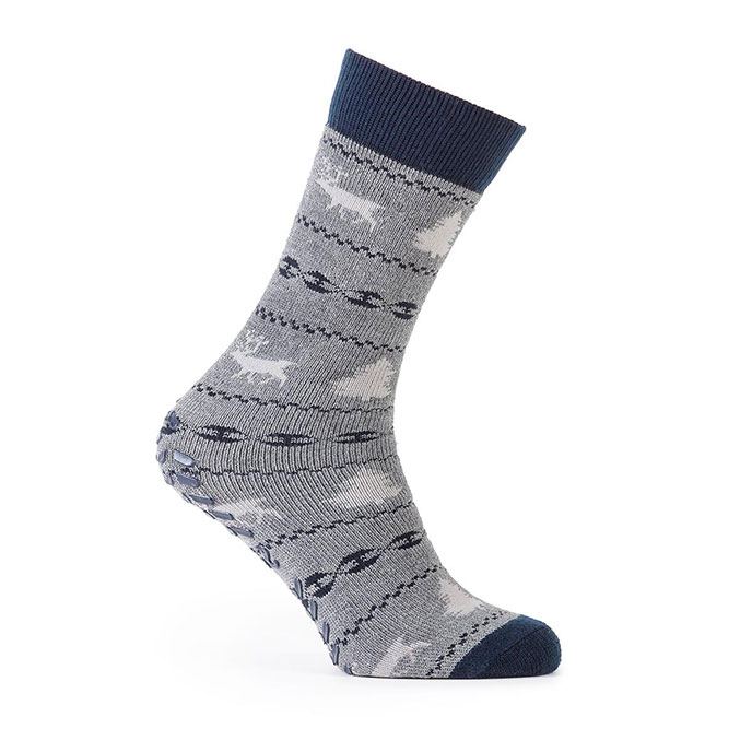 totes Mens Original Slipper Socks (Twin Pack) Grey Fairisle