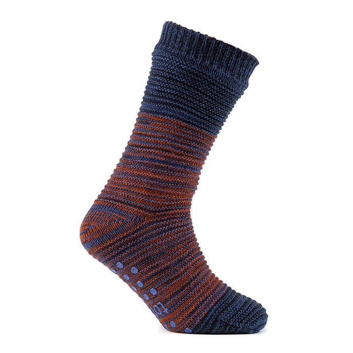 totes Mens Textured Chunky Socks Navy Space Dye