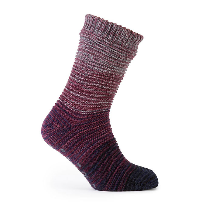 totes Mens Space Dye Marl Knit Slipper Socks Berry/Blue