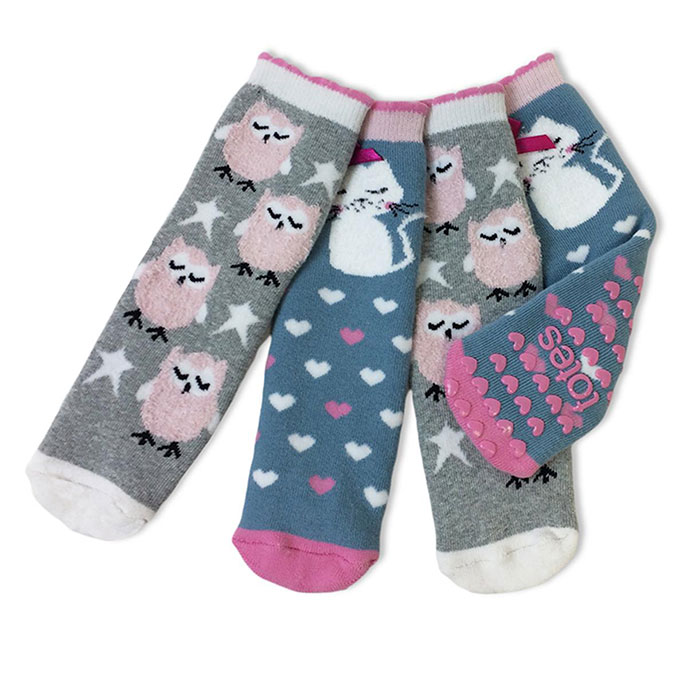 totes Girls Tots Slipper Socks (Twin Pack) Owl/Cat