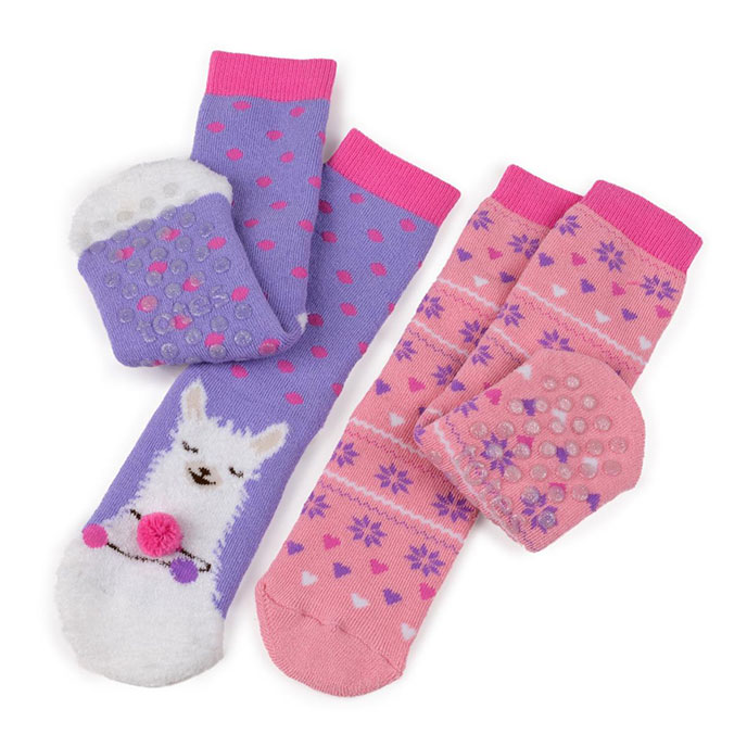 totes Girls Twin Pack Socks Llama