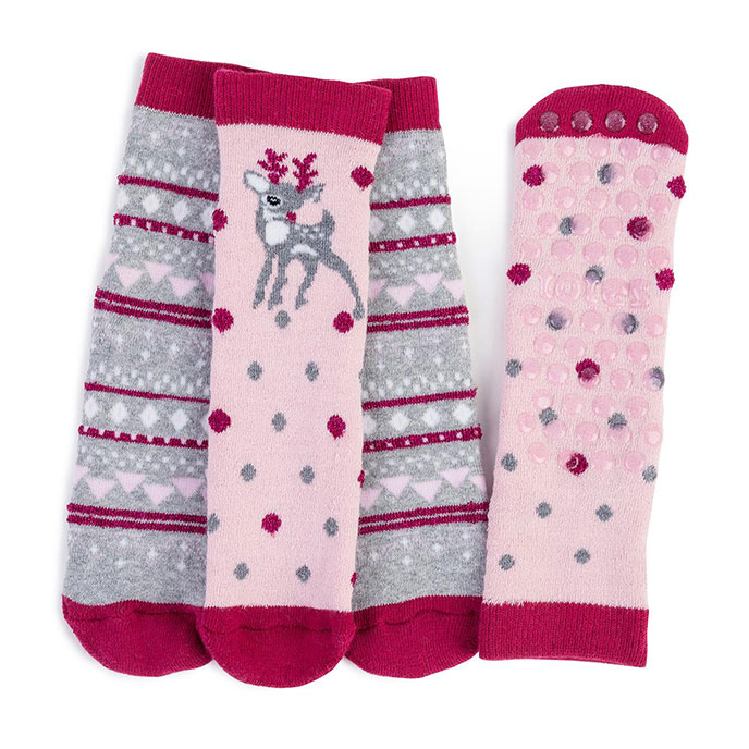 totes Girls Original Slipper Socks (Twin Pack) Deer/Fairisle