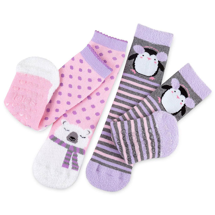 totes toasties Kids Novelty Slipper Socks (Twin Pack) Penguin and Bear