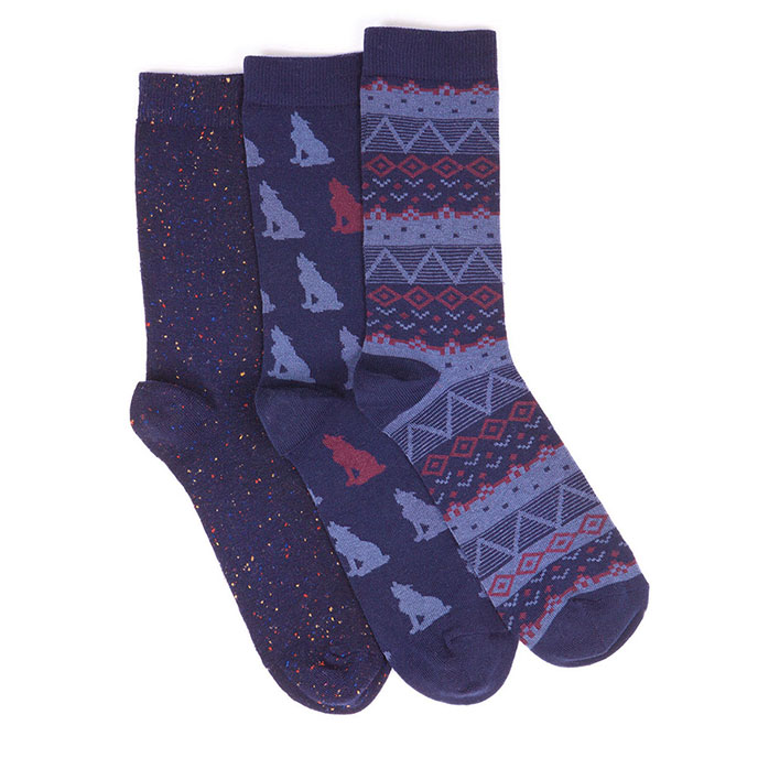 totes Mens Untreaded Socks (3 Pack) Blue Wolf