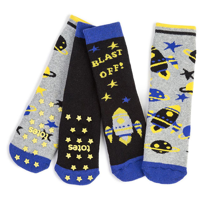 totes Boys Tots Slipper Socks (Twin Pack) Spaceship