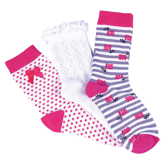 totes Ladies Untreaded Socks (3 Pack) Pink and White One Size