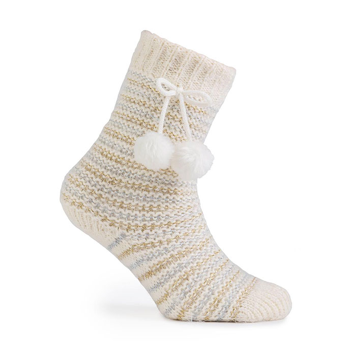 totes Ladies Fluffy Slipper Socks Cream/Gold/Silver