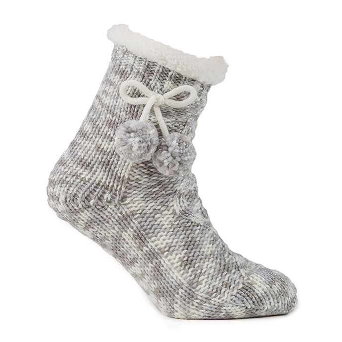 totes Ladies Cable Knit Socks Grey/Silver