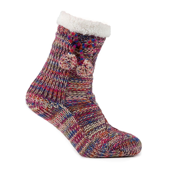 totes Ladies Cable Knit Socks Multicoloured