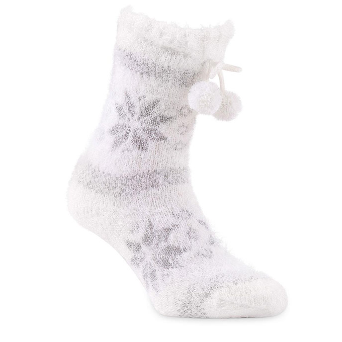 totes Ladies Chunky Knitted Slipper Sock White Fairisle