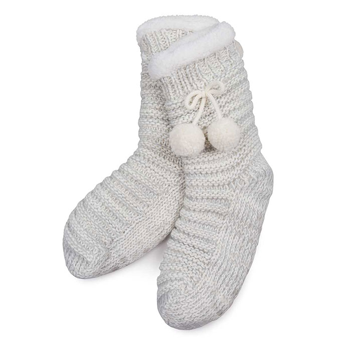 totes Ladies Chunky Knit Pom Pom Socks Grey