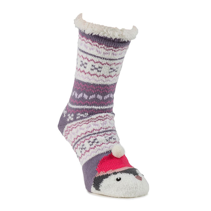 totes Ladies Novelty Chunky Socks Penguin Fairisle