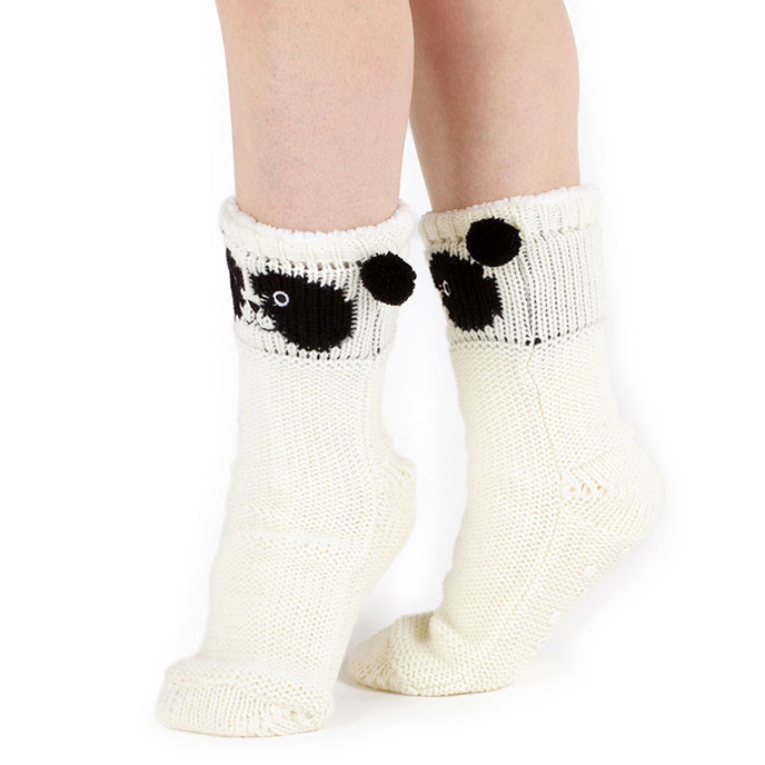 totes Ladies Chunky Novelty Slipper Socks Cream