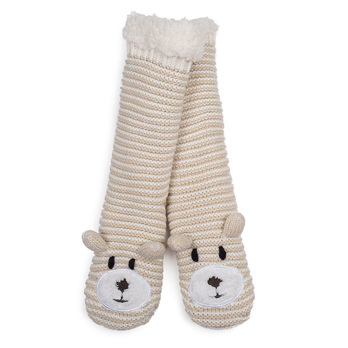 totes Ladies Chunky Novelty Slipper Socks Natural